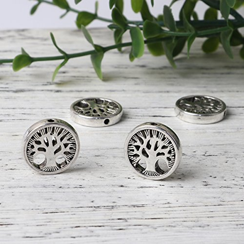 Tree of Life Spacer Beads, 20 Pack, 17mm (3/4 Inch) with 1.5mm Hole