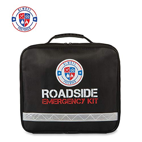 Always Prepared 62 Piece Roadside Emergency Assistance Kit with Jumper Cables - All-in-One Auto, Visibility, Safety, and First Aid Essentials