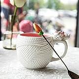 Dreidimensionale geprägte Wolle Textur Mary Katze Keramik Becher Kaffeetasse Wasserkocher