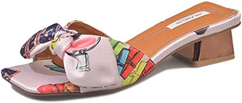 T-JULY Bowknot Silk Satin Open Toe Heeled Slides Sandals Mules for Women Bohemian Slip on Dress Beach Slipper