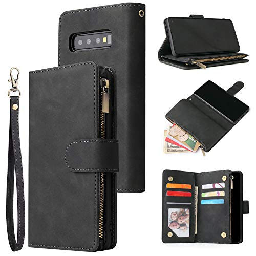QLTYPRI Funda para Samsung Galaxy S10 Plus, piel de alta calidad, con gran capacidad, 6 compartimentos para tarjetas y 1 bolsillo con cremallera, función atril, color negro