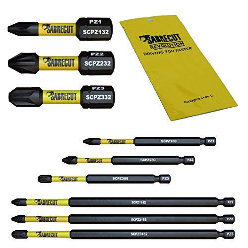 Juego de 9 brocas de atornillador taladro SabreCut SCRK9PZ 32 mm, 89 mm, 152 mm, PZ1 PZ2 PZ3, puntas de impacto magnéticos Pozidriv™ de gran resistencia para Dewalt, Milwaukee, Bosch, Makita y más.