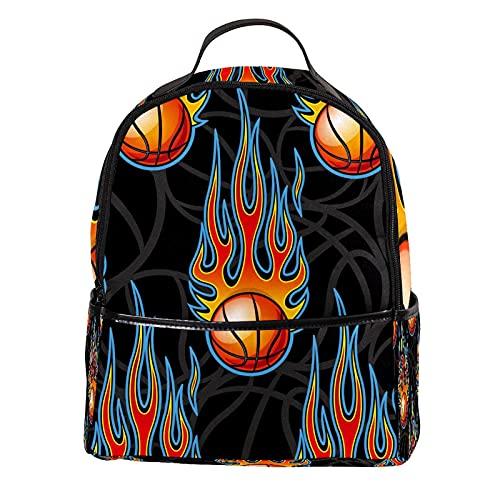KAMEARI Mochila para escuela quema baloncesto casual mochila para viajes con bolsillos laterales para botella