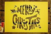 メリークリスマス 紙製 ステンシルシート サンタクロース 大