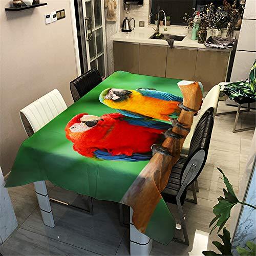 DUJUN Mantel Impermeable de poliéster, Mantel Impreso en 3D Digital, Mantel Serie Loro, Adecuado para restaurantes, decoración del hogar, Fiestas A1 100x140cm