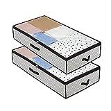 MISSFOX 2 Stück Unterbett Aufbewahrungstasche, Faltbare Unterbettkommode Verdickung Vliesstoff...