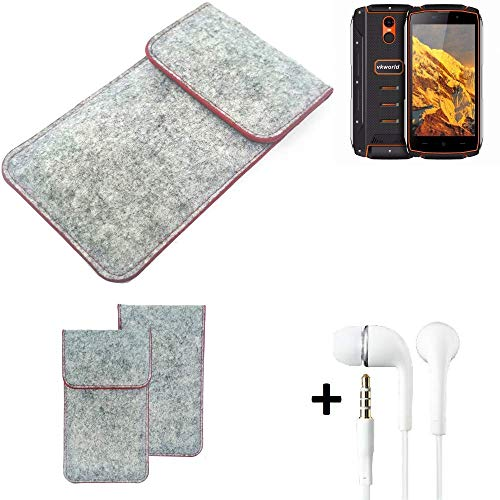 K-S-Trade® Handy Schutz Hülle Für Energizer P20 Schutzhülle Handyhülle Filztasche Pouch Tasche Case Sleeve Filzhülle Hellgrau Roter Rand + Kopfhörer