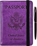 Passport Holder Cover Case - RFID Blocking Anti-theft Leather Passport Wallet Card Case Travel Document Organizer for Women Men with Bonus Pen(purple)