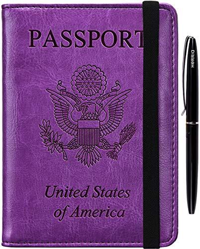 Passport Holder Cover Case - RFID Blocking Anti-theft Leather Passport Wallet Card Case Travel Document Organizer for Women Men with Bonus Pen(purple)