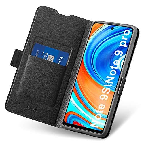 Aunote Hülle für Xiaomi Note 9 Pro/9S, Handyhülle Redmi Note 9 Pro/9S, Redmi Note 9 Pro/9S Hülle Kartenfach, Klapphülle Note 9 Pro, Schutzhülle Tasche Leder Etui Folio, Flip Phone Cover Hülle. Schwarz