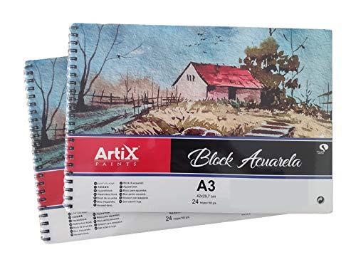 Lote 2 Bloc de Papel Para Acuarela/Watercolour Block Blanco Grueso,(A3 de 42X29,7cm 24 hojas/180grs) Para Su Creación Adecuada Para Niños y Profecionales(Pack 2 Block Acuarela, A3/180grs)