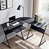 L Shaped Desk with Keyboard Tray, 50.4' Computer Corner Desk with Reversible...