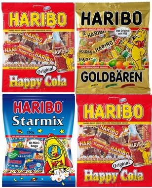 HARIBOハリボー グミ ミニ(個包装)250g×4袋セット(スターミックス(1袋)・ゴールドベアー(1袋)・ハッピーコーラ(2袋))