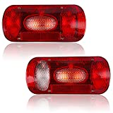 Hawkeye Par Luz trasera del remolque 6 Funciones Bombilla Lámpara Rectángulo para Camioneta (Rojo, Rectángulo)