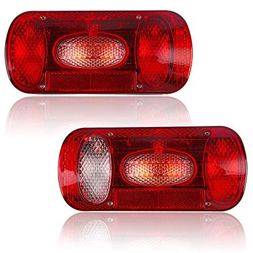 Hawkeye Paar Hintere Anhänger Leuchte Rückleuchten Glühbirne Lampe Anhänger beleuchtung für LKWs Auto Anhänger(Rechteck, Rot)…