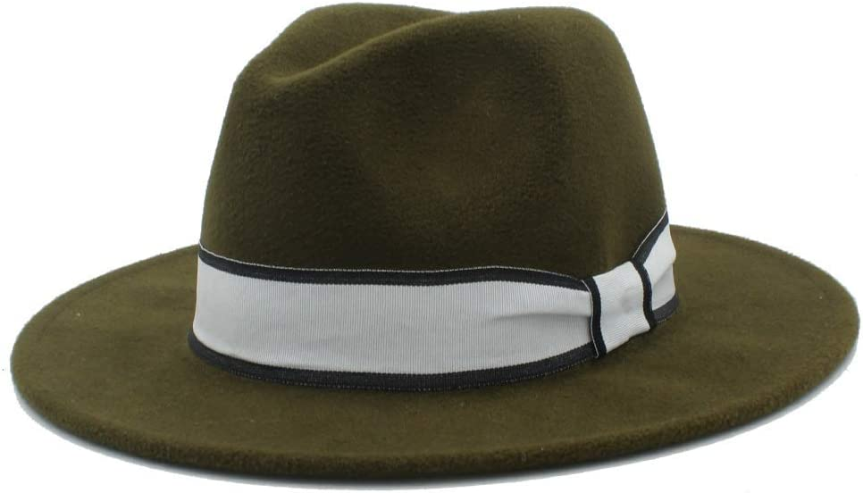 HXGAZXJQ Men Women Winter Fedora Hat with White Ribbon Panama Hat Wide Brim Church Fascinator Hat Casual Hat Size 56-58CM (Color : Army Green, Size : 56-58)