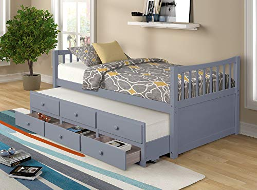 Twin Captain's Bed Storage daybed with Trundle and Drawers for Kids Guests (Grey)