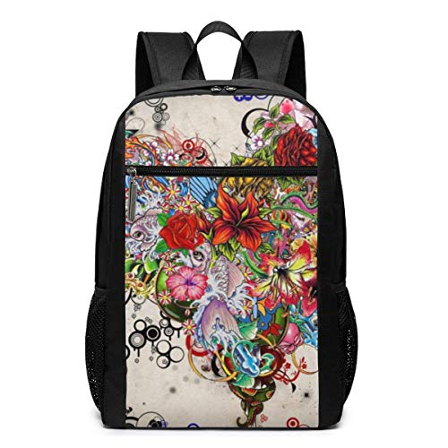 IUBBKI Backpack 17 Inch Laptop Backpack Water Resistant Anti Theft Shockproof Slim Travel Computer Pack for College Business Travel Canvas School Bag Colourful Flower Heart