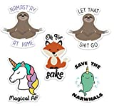 Stickeroonie Best Sellers Sticker Decals 5 Pack- Let That Shit Go Sloth- Magical AF- Fox Sake- for laptops, Water Bottles 4' x 4'