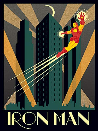 "Pyramid International AFWDC92240 - Stampa su tela ""Marvel Deco Iron Man"", in cotone, multicolore, 1,80 x 30 x 40 cm"