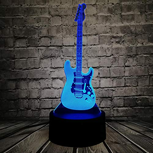 3d Sliding Effect, Phantom Light, Music Cool Guitar Bass Pattern, Decorative Lights With 7 Color Changes, The Best Holiday Birthday Gift For Bedroom Children's Room Decoration, Smart Touch Buttons