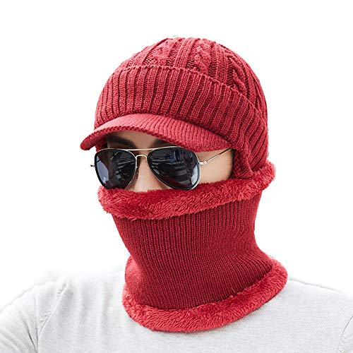 Fxhan Unisex Men Women Winter Warm Hat Neck Warmer Crafts Knit Vizier Beanie Fleece Lined Ear Flap Cap