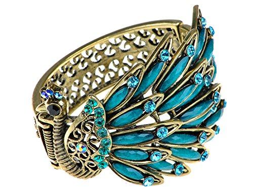 ALILANG Frauen Antik Vintage Retro Gold Gumetal Bronze Türkis Blau Kristall Strass Pfau Armband Armreif