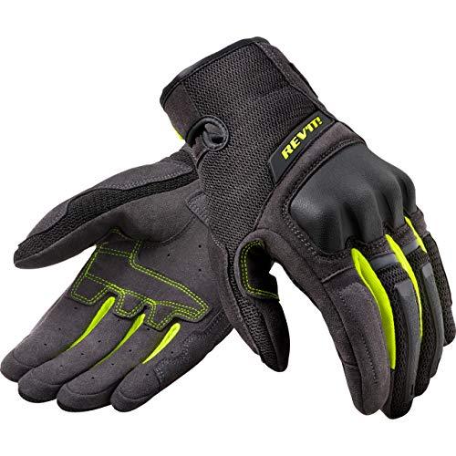 REV'IT! Motorradhandschuhe kurz Motorrad Handschuh Volcano Handschuh schwarz/neon-gelb L, Herren, Tourer, Ganzjährig, Textil