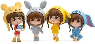 4 Pcs Kawaii Girls Toys Figurines Playset Cake Topper, Garden Cake Decoration, Miniature Fairy Garden Decoration