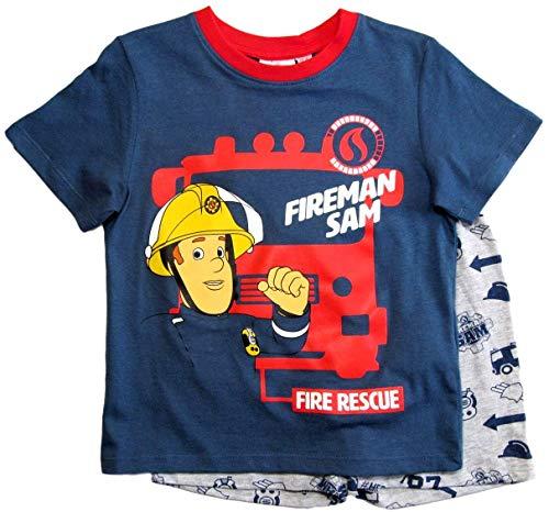 Feuerwehrmann Sam Schlafanzug Shorty Jungen (Rot-Grau, 110-116)