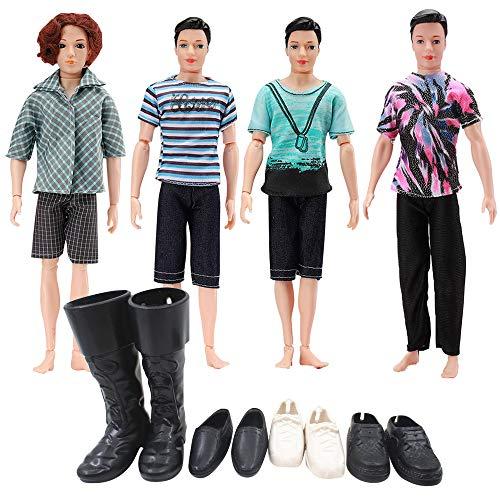 Winthai 4 Conjuntos Casual muñeca Ropa Chaqueta Pantalones Trajes con 4 Pares de Zapatos compatibles con Hombres Boy Ken Muñecas Niños Regalos