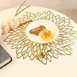 Famibay Weihnachten Platzsets Rund 6er Set Waschbar Tischsets Gold Kunststoff Platzdeckchen für Küche Tisch - 5