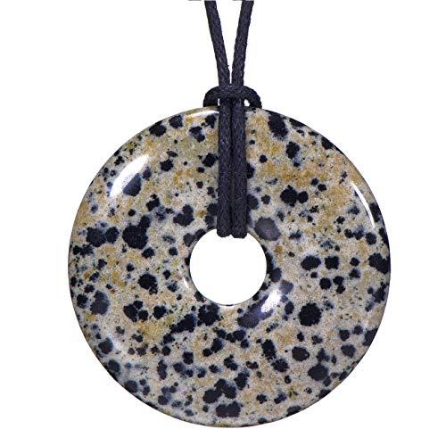 Morella Damen Halskette 80 cm Donut Edelstein Anhänger Dalmatinerjaspis im Samtbeutel