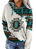 Akivide Vantage Women's Geometric Horse Print Aztec Hoodie Pullover, Cowgirl Western Ethnic Style Rhombus Printed Hooded Sweatshirt (Green, S)