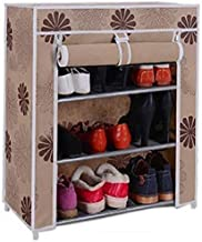 Caxon Multipurpose Use Storage Stand Metal Collapsible Shoe Stand (Beige Flower, 3 Shelves)