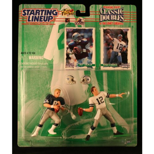 TROY AIKMAN / DALLAS COWBOYS & ROGER STAUBACH / DALLAS COWBOYS 1997 NFL Classic Doubles Winning Pairs Starting Lineup Action Figures & Exclusive Collector Trading Cards