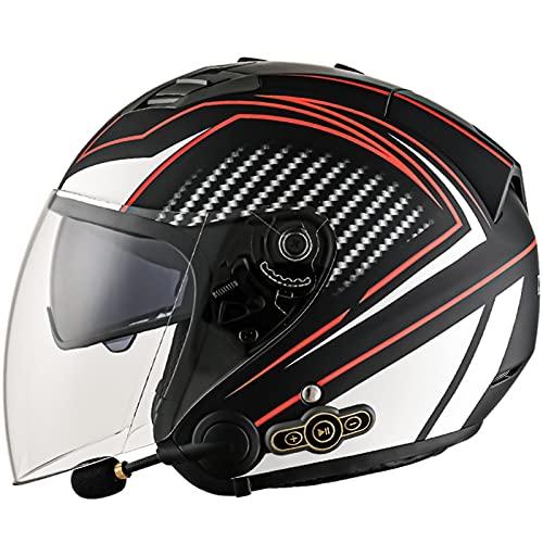 Bluetooth Casco Moto Abierto,Casco Moto Mujer y Hombre Adultos con Visera,Casco Moto Jet para Mofa Crash Cruiser Chopper Scooter Biker,ECE Homologado (Color : B, Size : L(59~60CM))