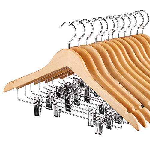 HOUSE DAY Wood Hangers with Clips12 Pack Suit Hangers with Clips Wooden Hangers Natural Smooth Finish Wooden Pants Hangers Premium Wood Hangers for Suit