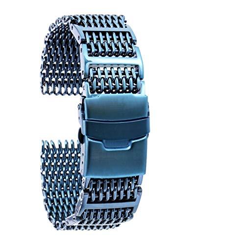 ZXF Correa Reloj, 20/22/24 Reloj de Acero Inoxidable Bandas de reemplazo Plegable Corchete Correas de Reloj PulseraZXF (Color : Blue, Size : 20mm)