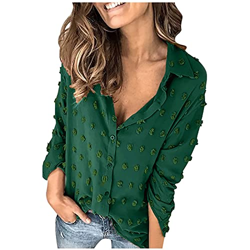 Esque Camisa De Lunares para Mujer, Blusa Manga Larga con Solapa Y Color SóLido,Camisa Hinchados Mujer Top SóLido,Camisetas Media,Blusas Verano Talla Grande,Camisas Grande,Verde,L