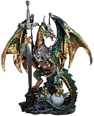 GSC 71849 15.5 Inch Dragon Figurine Green, with Sword