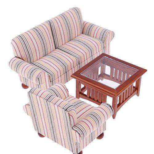 Sharplace Miniatur Wohnzimmermöbel Couch Sofa, Teetisch, Ohrensessel für 1: 12 Puppenhaus Dekoration - Rosa gestreift