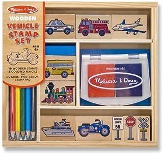 Melissa & Doug Vehicles: Wooden Stamp Set & 1 Scratch Art Mini-Pad Bundle (02409)
