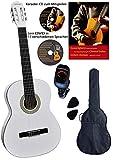 Clifton - Guitarra de concierto 4 4, diapasón de arce y puente, tapa de abeto, DVD, karaoke CD, canciones, funda acolchada con soporte trasero, 2 púas, afinador digital, set de iniciación