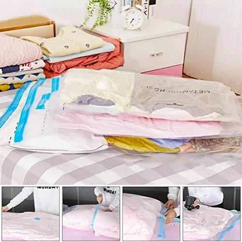 12x Vakuumbeutel Kleidung XXL für Bettdecken Bettwäsche Groß Aufbewahrungsbeutel Staubsauger Vacuum Vakuum Reise Kleiderbeutel Vakuumierbeutel 60 x 80CM