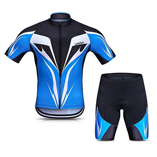Lixada Hommes VTT Cyclisme Vêtements Set Costume Respirant Séchage Rapide à Manches Courtes Chemise D'équitation avec Gel épaississement Shorts VTT Vêtements Ensemble