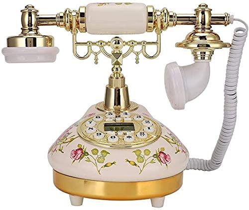 Decoración telefónica Modelo Modelo Retro Decoración Retro Teléfono fijo, Clasica Vintage Base redonda Cerámica Europea Rosa Retro Teléfono Retro para la detección auática, identificador de llamadas T