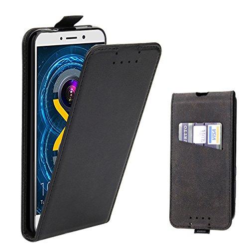 Honor 6X Hülle, Supad Leder Tasche für Huawei Honor 6X Handyhülle Flip Case Schutzhülle (Schwarz)