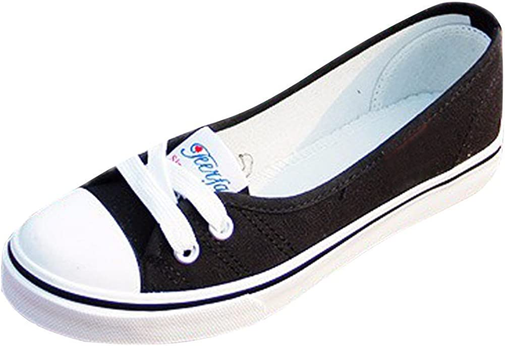 MayBest Women's Lace-Up Canvas Casual Loafer Slip On Flats Shoes