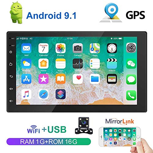 Liehuzhekeji Android 9.1 7 Inch HD 2 Din Car Stereo Radio Bluetooth FM with USB/AUX-in/RCA Input, Support DVR/GPS Navigation/Dual Mirror Link/WiFi/Steering Wheel Remote & Rear View Camera